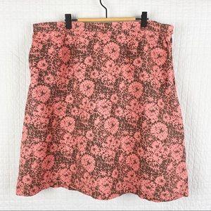 LL Bean Floral Classic Fit Cotton / Linen Skirt XL
